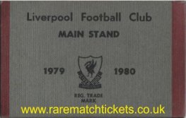 1979-80 div1 champions LIVERPOOL season ticket front cover