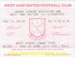 1985-86 div1 m05 WEST HAM UTD 2 LIVERPOOL 2
