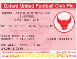 1985-86 div1 m08 OXFORD UTD 2 LIVERPOOL 2