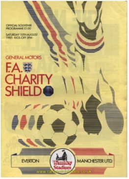 1985 charity shield EVERTON 2 MANCHESTER UTD 0