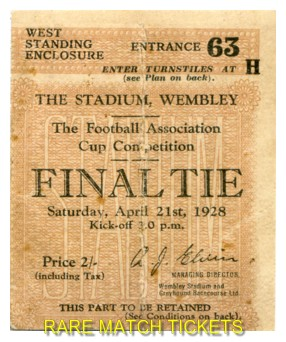 1928 fac final BLACKBURN ROVERS 3 HUDDERSFIELD TOWN 1