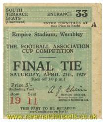 1929 fac final BOLTON WANDERERS 2 PORTSMOUTH 0