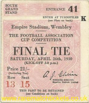 1930 fac final ARSENAL 2 HUDDERSFIELD TOWN 0