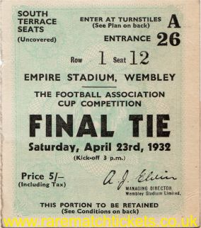 1932 fac final NEWCASTLE UTD 2 ARSENAL 1