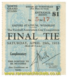 1933 fac final EVERTON 3 MANCHESTER CITY 0