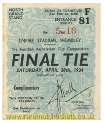 1934 fac final MANCHESTER CITY 2 PORTSMOUTH 1