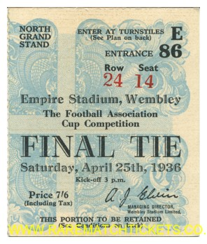 1936 fac final ARSENAL 1 SHEFFIELD UTD 0