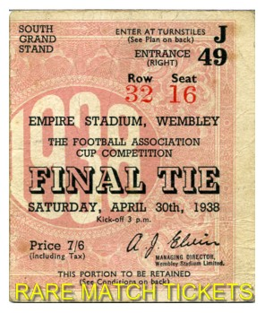 1938 fac final PRESTON NORTH END 1 HUDDERSFIELD TOWN 0