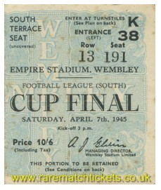 1945 fl south cup final CHELSEA 2 MILLWALL 0