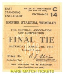 1948 fac final MANCHESTER UTD 4 BLACKPOOL 2 [east]
