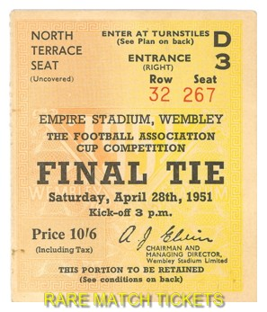 1951 fac final NEWCASTLE UTD 2 BLACKPOOL 0