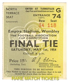 1954 fac final WEST BROMWICH ALBION 3 PRESTON NORTH END 2