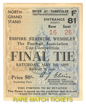 1955 fac final NEWCASTLE UTD 3 MANCHESTER CITY 1