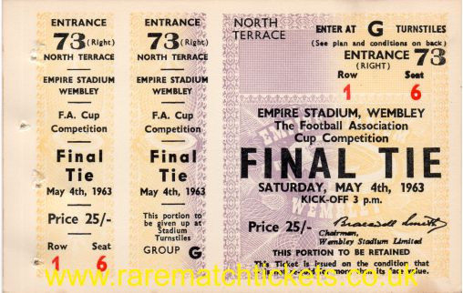 1963 fac final MANCHESTER UTD 3 LEICESTER CITY 1 (unused)