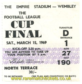 1969 lc final SWINDON TOWN 3 ARSENAL 1
