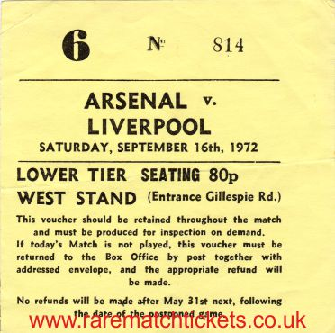 1972-73 div1 m09 ARSENAL 0 LIVERPOOL 0