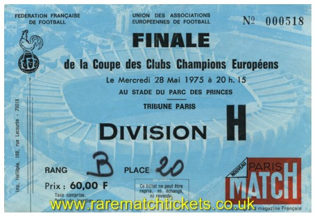 1975 ec final BAYERN MUNICH 2 LEEDS UTD 0 (unused)