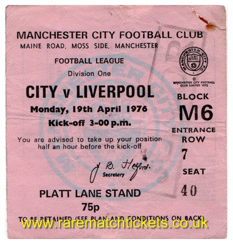 1975-76 div1 m41 MANCHESTER CITY 0 LIVERPOOL 3