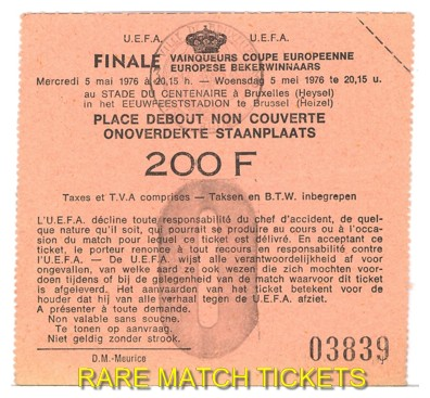 1976 cwc final ANDERLECHT 4 WEST HAM UTD 2 (unused)