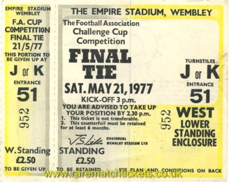 1977 fac final MANCHESTER UTD 2 LIVERPOOL 1 (unused) [west]