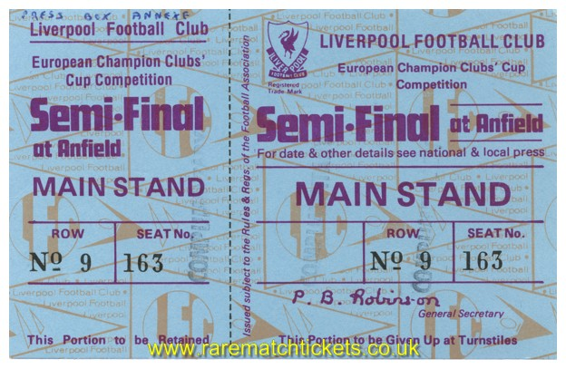 1980-81 ec sf 1st LIVERPOOL 0 BAYERN MUNICH 0 (unused) [ms]