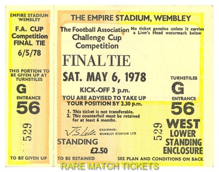 1978 fac final IPSWICH TOWN 1 ARSENAL 0 (unused)