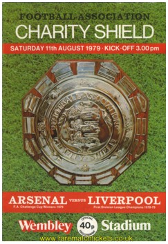 1979 charity shield LIVERPOOL 3 ARSENAL 1