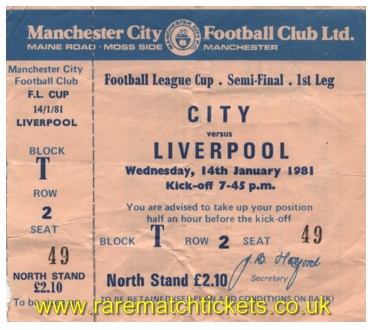 1980-81 lc sf1 MANCHESTER CITY 0 LIVERPOOL 1 (unused)