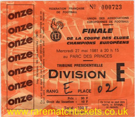 1981 ec final LIVERPOOL 1 REAL MADRID 0
