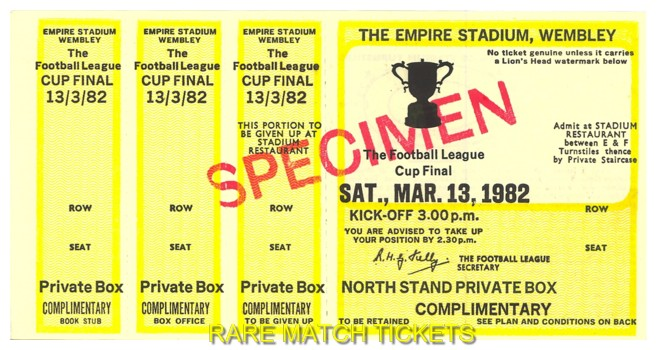 1982 lc final LIVERPOOL 3 TOTTENHAM HOTSPUR 1 (unused)