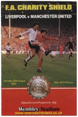 1983 charity shield MANCHESTER UTD 2 LIVERPOOL 0