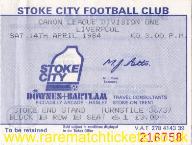 1983-84 div1 m35 STOKE CITY 2 LIVERPOOL 0