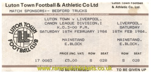 1983-84 div1 m28 LUTON TOWN 0 LIVERPOOL 0 [unused]