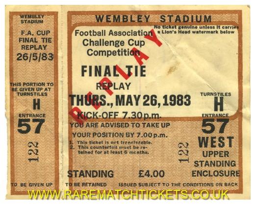 1983 fac final replay MAN UTD 4 BRIGHTON & HA 0 (unused) [west]