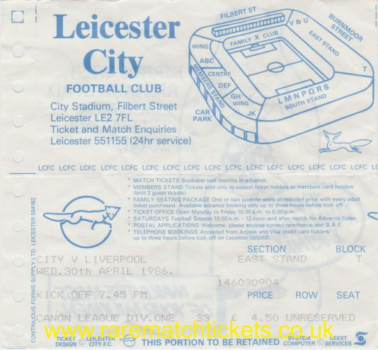 1985-86 div1 m41 LEICESTER CITY 0 LIVERPOOL 2
