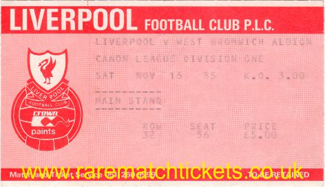 1985-86 div1 m17 LIVERPOOL 4 WEST BROMWICH ALBION 1 [ms]