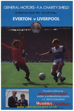 1986 charity shield EVERTON 1 [s] LIVERPOOL 1