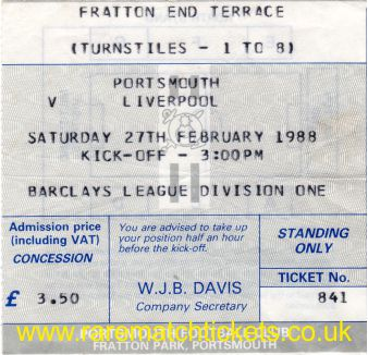 1987-88 div1 m27 PORTSMOUTH 0 LIVERPOOL 2