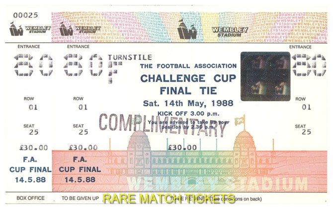 1988 fac final WIMBLEDON 1 LIVERPOOL 0 (unused)