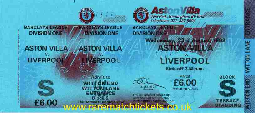 1989-90 DIV1 M02 ASTON VILLA 1 LIVERPOOL 1 (unused)