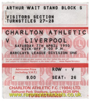 1989-90 div1 m32 CHARLTON ATHLETIC 0 LIVERPOOL 4