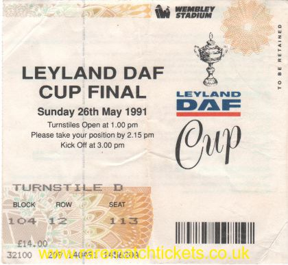 1991 flt final BIRMINGHAM CITY 3 TRANMERE ROVERS 2