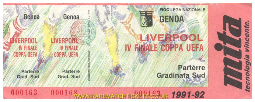 1991-92 uefa qf 1st GENOA 2 LIVERPOOL 0 (unused)