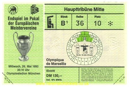 1993 cl final OLYMPIQUE MARSEILLE 1 AC MILAN 0 (unused)