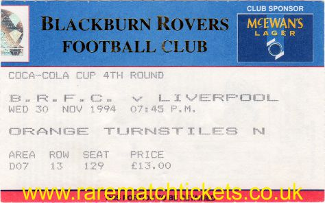 1994-95 lc r4 BLACKBURN ROVERS 1 LIVERPOOL 3