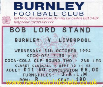 1994-95 lc r2 2nd BURNLEY 1 LIVERPOOL 4