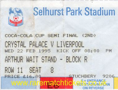 1994-95 sf2 CRYSTAL PALACE 0 LIVERPOOL 1