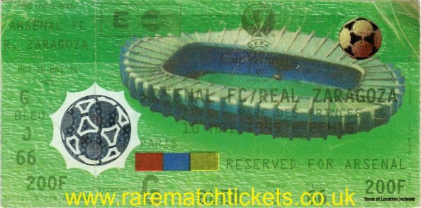 1995 cwc final REAL ZARAGOZA 2 [ARSENAL] 1 (unused)
