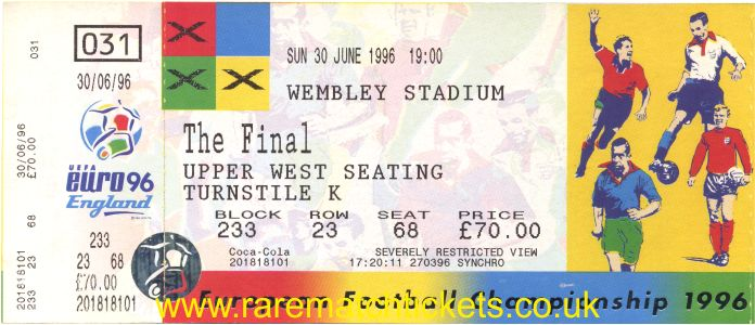 1996 ec final GERMANY 2 CZECH REPUBLIC 1 (unused)