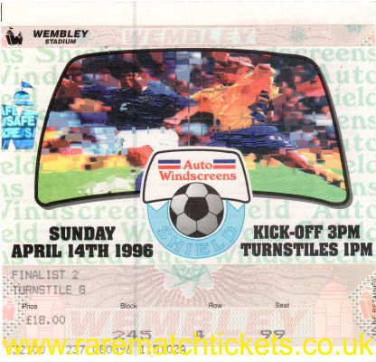 1996 flt [auto windscreen] final ROTHERHAM UTD 2 SHREWSBURY T 1